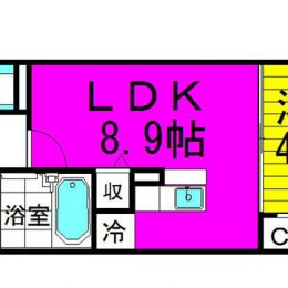 1LDK・02号・38.05㎡(間取)