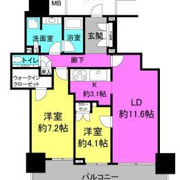 2LDK、御堂筋線中津駅に直結のタワーマンション