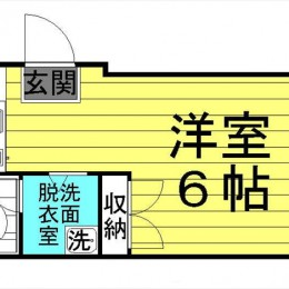 23.34㎡ 脱衣所・室内洗濯バンあり(間取)