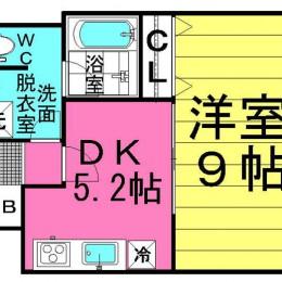 1DK・Bタイプ・34.84㎡(間取)