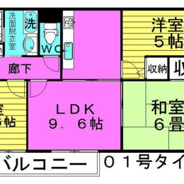 3LDK・1号タイプ・58.38㎡(間取)