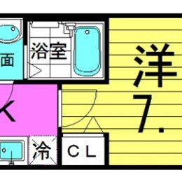 洋室7.1帖/24.09㎡/01号・08号(間取)